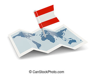 Map with flag of austria