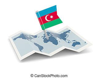 Map with flag of azerbaijan