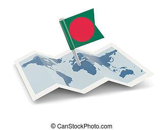 Map with flag of bangladesh