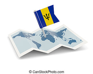 Map with flag of barbados