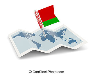 Map with flag of belarus