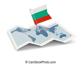 Map with flag of bulgaria