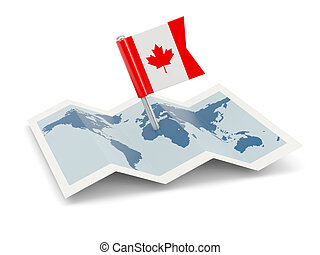 Map with flag of canada