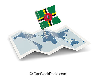 Map with flag of dominica