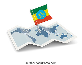 Map with flag of ethiopia