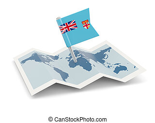 Map with flag of fiji