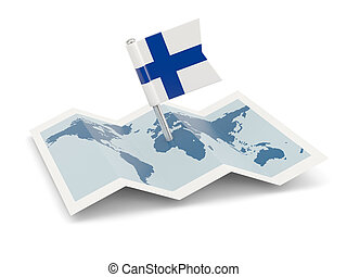 Map with flag of finland