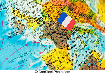 map with flag of France - map with miniature flag of France...