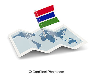 Map with flag of gambia