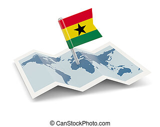 Map with flag of ghana