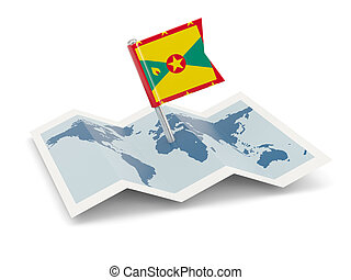 Map with flag of grenada