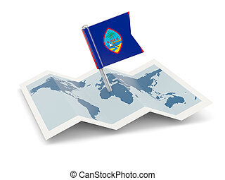 Map with flag of guam