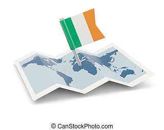 Map with flag of ireland