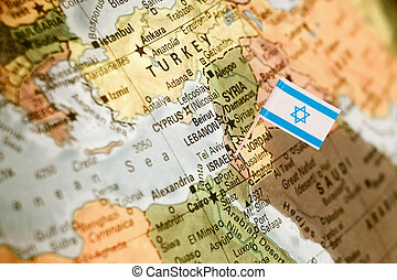 map with flag of Israel - map with miniature flag of Israel...