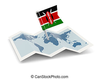 Map with flag of kenya