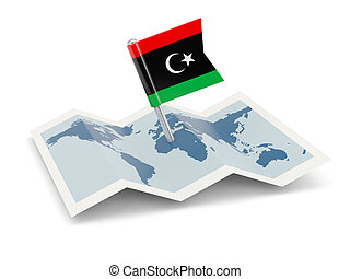 Map with flag of libya
