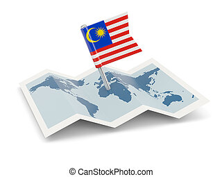 Map with flag of malaysia
