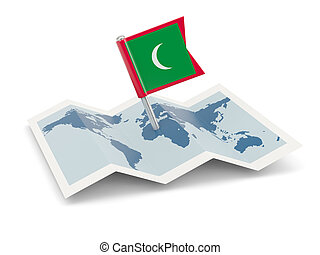 Map with flag of maldives