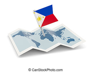 Map with flag of philippines