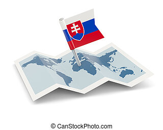 Map with flag of slovakia