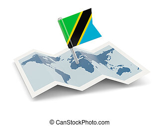 Map with flag of tanzania