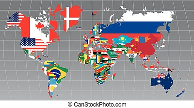 map with flags