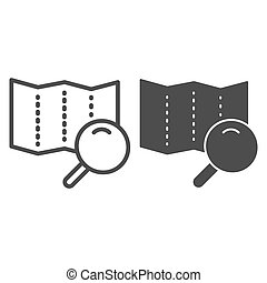 Map with lens line and glyph icon. Search road vector illustration isolated on white. Magnifier glass and map outline style design, designed for web and app. Eps 10.