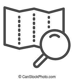 Map with lens line icon. Search road vector illustration isolated on white. Magnifier glass and map outline style design, designed for web and app. Eps 10.