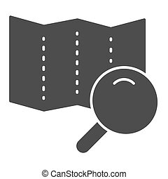 Map with lens solid icon. Search road vector illustration isolated on white. Magnifier glass and map glyph style design, designed for web and app. Eps 10.