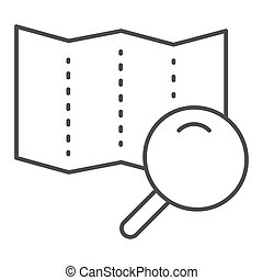 Map with lens thin line icon. Search road vector illustration isolated on white. Magnifier glass and map outline style design, designed for web and app. Eps 10.