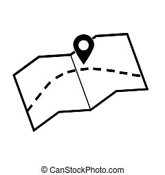 Map with location vector icon