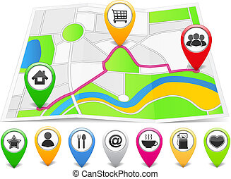 Map markers with different icons on the abstract map, vector eps10 illustration