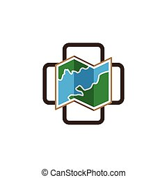 map with medical cross logo icon vector