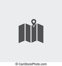 Map with pin icon in a flat design in black color. Vector illustration eps10