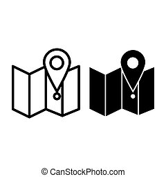 Map with pin line and glyph icon. Direction vector illustration isolated on white. Gps outline style design, designed for web and app. Eps 10.