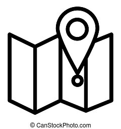 Map with pin line icon. Direction vector illustration isolated on white. Gps outline style design, designed for web and app. Eps 10.