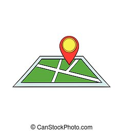 Map with pin pointers icon, cartoon style