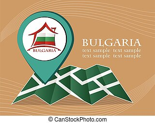 map with pointer flag Bulgaria vector illustration eps 10.