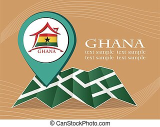 map with pointer flag Ghana vector illustration eps 10.