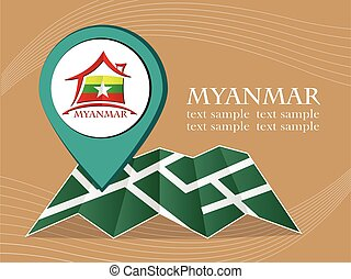 map with pointer flag Myanmar vector illustration eps 10.