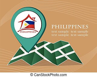map with pointer flag Philippines vector illustration eps 10.