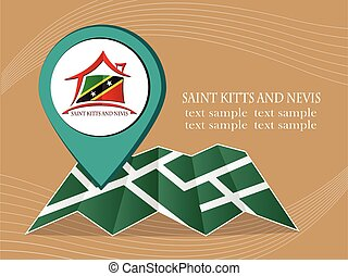 map with pointer flag Saint Kitts and Nevis vector illustration eps 10.