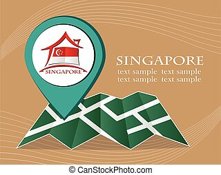 map with pointer flag Singapore vector illustration eps 10.