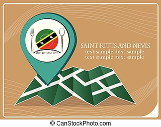 map with pointer food Saint Kitts and Nevis, vector illustration.