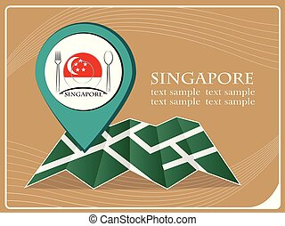 map with pointer food Singapore, vector illustration.