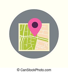Map With Pointer Pin Icon Travel Destination Concept Flat...
