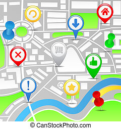 Map with pointers, vector eps10 illustration