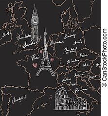 Map with sights of Europe on blackboard