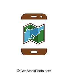 map with smart phone logo icon vector