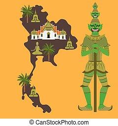 Map with Thailand symbol, marble Temple Benchamabophit, Guardian Giant Yaksha, Buddhist stupa - chedi, sculpture of Buddha